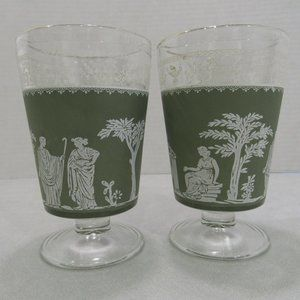 2 Vtg Jeanette Hellenic Grecian Green Stem Glasses
